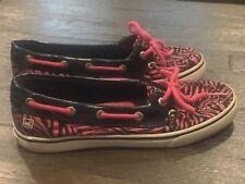 Youth Girls Pink & Black Glitter SPERRY Zebra Print Shoes Sz  US 3m Nice!