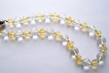 Kette Kristall Citrin Peridot  Silber 49,5 cm gelb weiß grün facettiert