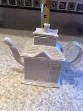 Vintage Reproduction Staffordshire White Glazed Teapot House With Bird Spout