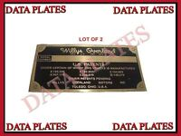 TM9 Rare Brass Acid Etching Willys Jeep MB GPW Dash Data Plate Set @UK