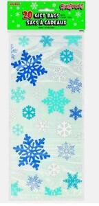 20 BLUE SNOWFLAKES Christmas Cello Cellophane Frozen Party Childrens Sweet Bags