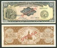 ENGLISH Issue 10 Pesos PHILIPPINES SPECIMEN Macapagal-Castillo Banknote