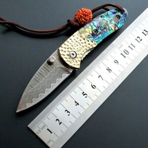 Drop Point Folding Knife Pocket Hunting Tactical Damascus Steel Shell Handle Cut