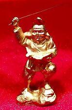 "Miniature Asian Golden Figurine with Fishing Rod & Fish 2"" tall 2oz"