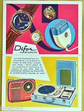 pubblicitaria DIFOR s.a. francese doppia Radio Giradischi Orologi