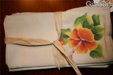 new REGENCY CREATIONS Napkins Set 4 Hand Painted Flowers Cream Ecco Friendly
