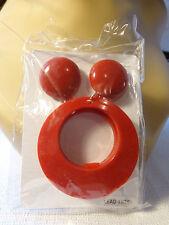 DOUBLE HOOP PIERCED EARRINGS RED BLACK OR WHITE HOOPS 3.25 IN L AND 2.25 IN W
