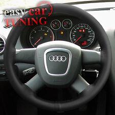 Para Audi A3 8p 2003-2013 Real Color Negro De Cuero Genuino cubierta del volante Guante
