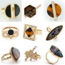 Fashion Gold Plated Resin Leopard Shell Irregular Cocktail Ring New