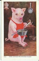 Anthropomorphic Jimmy Pig This Little Pig Stayed Home Postcard Hanke 1909