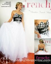557 WHITE/BLACK FRENCHY BALLGOWN PAGEANT PROM Dress Size 4 $599-ORIG PRICE NWT *