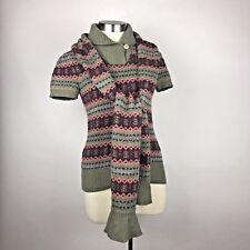Ralph Lauren Rugby Sweater + Scarf Women's Short Sleeve Fair Isle Gray & Pink S