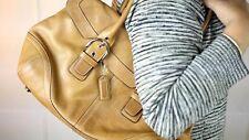 Vintage COACH Genuine Quality Leather Tan Large Handbag CC Monogram Interior