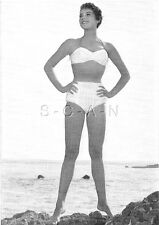 Original Vintage French 40s-60s Photo Card- Brunette- Bikini- Stands On Tip Toes