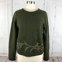 Woolrich Womens Sweater Size M 100% Wool Nordic Pull Over Boxy Oversized Pockets