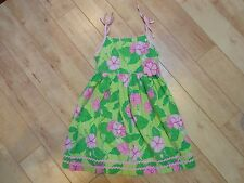 Girl Blueberi Boulevard Green Pink Flower Dress 6X EUC