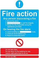fire action sticker vinyl emergency office door building self adhesive