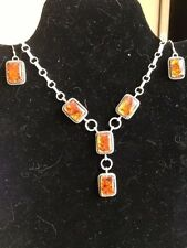 Baltic Amber Sterling Silver necklace set Thomas Byrd & Navajo Avin Joe signed