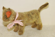 Steiff mechinical stripped stuffed cat, tail moves head left & right, button