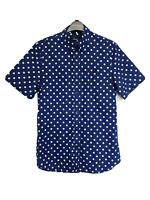 Mens FRED PERRY Short Sleeve Shirt Polka Dot Blue - Size S - RRP £85