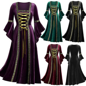 Women Victorian Renaissance Medieval Fancy Dress Halloween Gothic Witch Costume