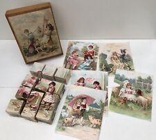 Jeu de 12 Cubes en bois Années 1910/1920's - Enfants jouant, animaux... NK Paris