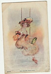 UDB 'NO ROOM FOR YOU' LADY ON SWING with TAMBOURINE POSTCARD