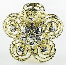 USA Quality Hair Claw Clip Hairpin use Swarovski Crystal Vintage Flower Gold 1