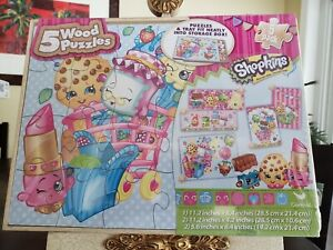 Shopkins 5 wood Puzzles 5 Pack PuzzlesWood Tray Storage Included.*New *Sealed