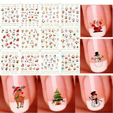12 Sheets Christmas 3D Nail Art Stickers Snowflakes & Cute Snowmen Decal Random