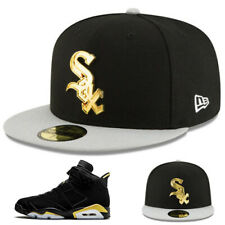 New Era Chicago White Sox Metallic Gold Badge Fitted Hat Match Air Jordan 6 DMP