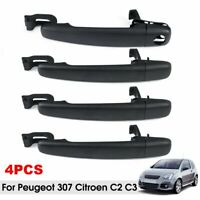 4pcs Front Rear Door Handle Driver Passenger Side For Peugeot 307 Citroen C2 C3