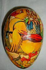 "Vintage Large 8"" Easter Egg West Germany Paper Mache Duck Rabbits Chicks Vgc"