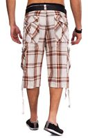 Hommes Shorts WALN plaid Bermudes pantalon cargo short à carreaux en coton