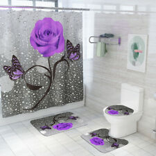Bathroom  Shower Curtain Butterfly Rose Printed Toilet Polyester Cover Mat Set