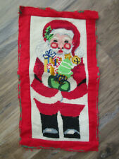 Antique Vtg WOOL Needlepoint CHRISTMAS SANTA Fabric Pillow Cover FINISHED 18x10