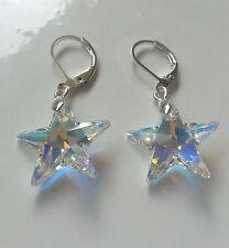 Kristall Ohrringe in silber mit Swarovski Elements Stern Star Crystal AB