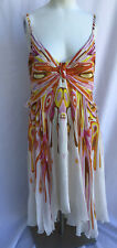 Byblos Disque Print Show Set Sun Sable Silk Summer Dress Sz 42/ Large