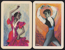 2 Single VINTAGE Swap/Playing Cards SPANISH DANCERS Artist Sign LE RUIZ LE-1-7/8