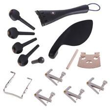 1 Set Ebony Violin Parts 4/4 Full Size Bridge Fine Tuner Chinrest Endpin Kit