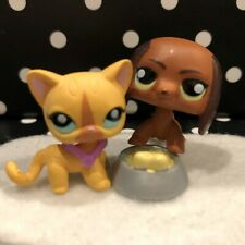 Authentic Littlest Pet Shop Rare Set Of Mini Shorthair Cat Dachshund Dog Set