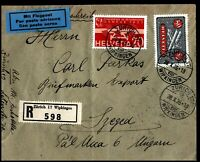 Switzerland 1935 Cover to Szeged Strasbourg Gare Avion Zurich Airmail Registered