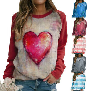 Autumn Womens T Shirt Tee Blouse Loose Ladies Basic Ombre Stripe Pullover Tops