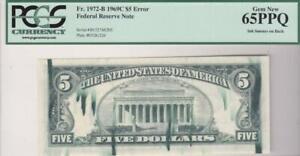 Error Note Ink Smears on Back PCGS Gem New 65 PPQ 1969 C $5 FRN