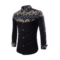 Casual floral t-shirt tops men's slim fit stylish long sleeve luxury dress shirt