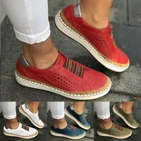 Women's Fashion Casual Hollow-Out Round Toe Slip On Flat Sneakers Shoes Size  F