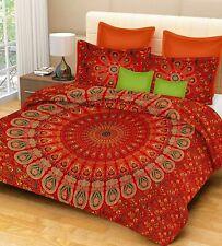 Indian Red Mandala Super King Duvet Quilt Cover Bedding Ethnic Boho Blanket Set