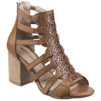 Hush Puppies MALIA BAJA Ladies Womens Leather Boho High Heel Sandals Tan