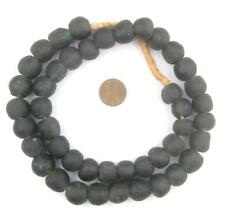 African Charcoal Black Recycled Glass Beads (14mm) Ghana