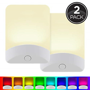 GE Color-Changing LED Night Light, 2 Pack, Plug-in, Dusk-to-Dawn, Home Décor,